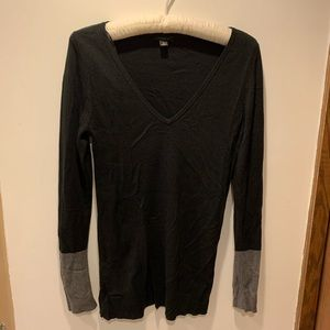 Ann Taylor Sweater with Gray Cuff Sleeves.